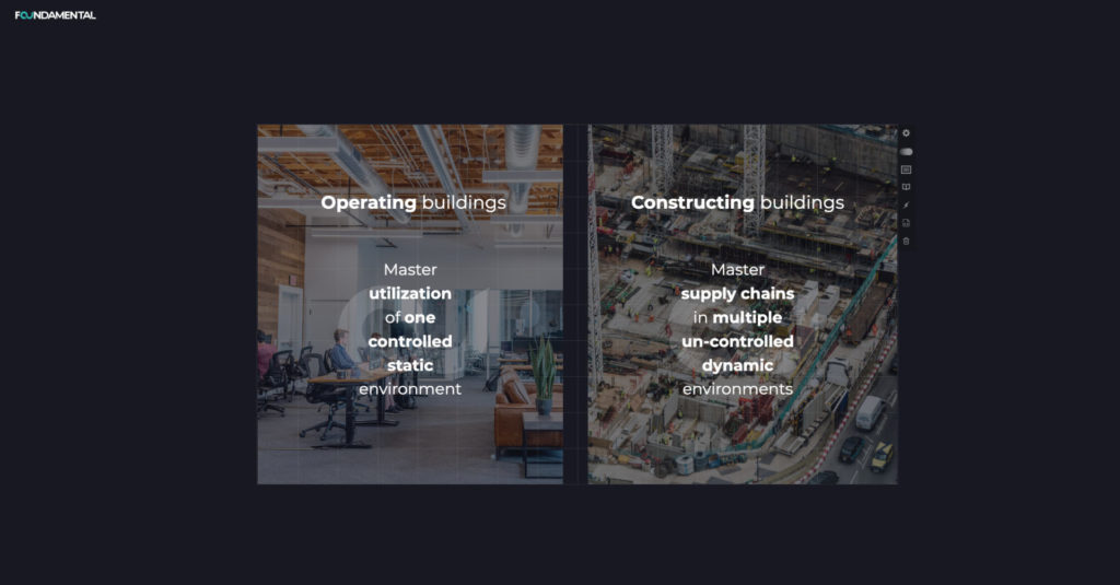 Chart showing the difference between operating buildings and constructing buildings